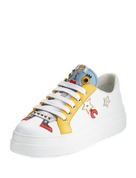 Robot Double Sole Leather Low Top Sneakers by Prada