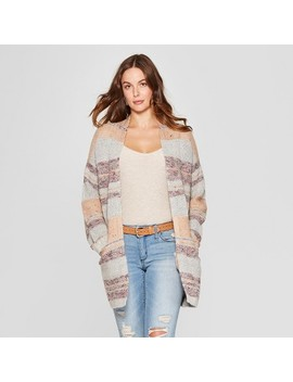 Women's Striped Long Sleeve Open Cardigan   Knox Rose™ Natural by Knox Rose