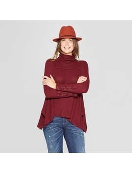 Women's Long Sleeve Lace Up Turtleneck Blouse   Knox Rose™ Red by Knox Rose