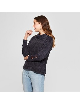 Women's Long Sleeve Crochet Turtleneck   Knox Rose™ Carbon by Knox Rose