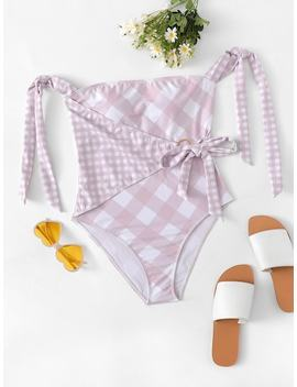 Knot Gingham Swimsuit by Sheinside