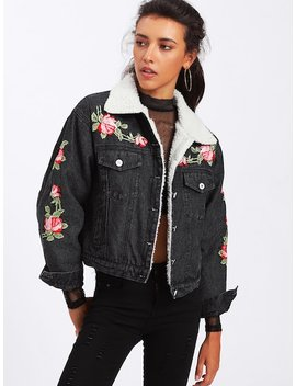 Floral Embroidered Faux Shearling Lined Denim Jacket by Sheinside