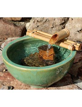 Bamboo Fountain With Pump Medium 12 Inch Three Arm Style, Indoor Or Outdoor Fountain, Natural, Split Resistant Bamboo, Combine With Any Container To Create Your Own Fountain, Handmade by Bamboo Accents