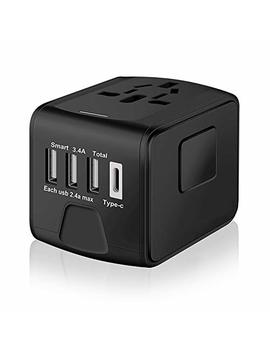 Saunorch S 199 Black Universal International Travel Power W/High Speed 2.4 A Usb, 3.0 A Type C Wall Charger, European, Worldwide Ac Outlet Plugs Adapters For Europe, Uk, Us, Au, Asia Black by Saunorch