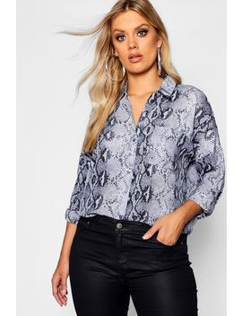 Plus Snakeskin Oversized Shirt by Boohoo