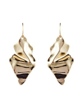 Retro Gold Crumpled Drop Earrings by Alexis Bittar