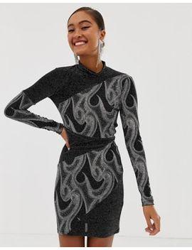Miss Selfridge High Neck Glitter Bodycon In Black by Miss Selfridge