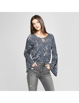 Women's Floral Print Long Sleeve Split Neck Top   Knox Rose™ Gray by Knox Rose