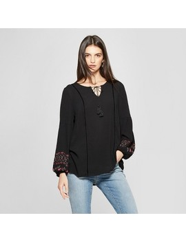 Women's Long Sleeve Embroidered Peasant Top   Knox Rose™ Black by Knox Rose