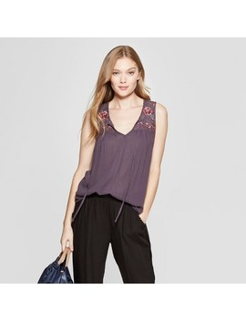 Women's Contrast Embroidered Tank Top   Knox Rose™ Purple by Knox Rose