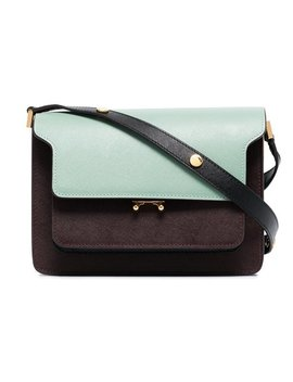 Green And Burgundy Trunk Leather Shoulder Bag by Marni
