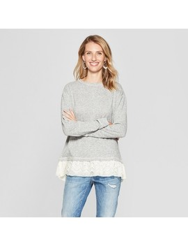 Women's Long Sleeve Lace Twofer Sweatshirt   Knox Rose™ Heather Gray by Knox Rose