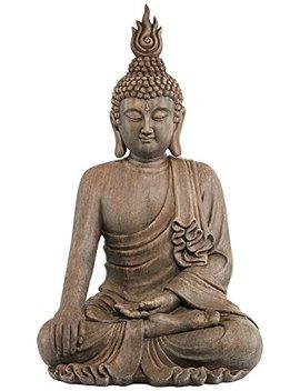 "Sitting Buddha 42"" High Gray Ceramic Indoor Outdoor Statue by John Timberland"
