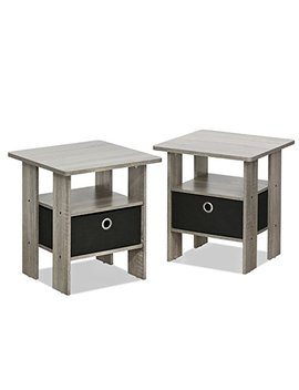 Furinno 2 11157 Gyw Petite Night Stand, 2 End Tables, French Oak Grey/Black by Furinno