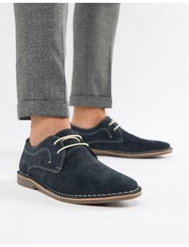 Red Tape Yuma Desert Brogue Shoe In Navy Suede by Brogues