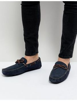 Dune Driving Shoes In Navy Suede by Dune