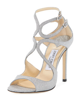 Lang 100mm Fine Glittered Leather Sandals by Jimmy Choo