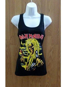 Iron Maiden†   Yellow Monster Print    Black  Women's  Tank Top Shirt   S   X L by Etsy