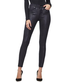 Good Legs Metallic Snake Print Skinny Jeans by Good American