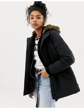 Vans Black Faux Fur Lined Coat by Vans