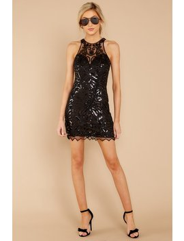 Until It's Light Black Sequin And Beaded Dress by Verty
