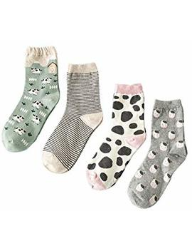 Searchself Women's Funny Cute Animal Design Casual Socks (Pack Of 4) by Searchself