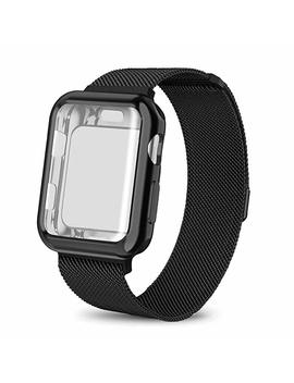 Ad Master Compatible Apple Watch Band 38mm 40mm 42mm 44mm, Stainless Steel Mesh Milanese Sport Wristband Loop With Apple Watch Screen Protector Compatible For I Watch Series 1/2/3/4 by Ad Master