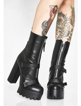 Dark Don't Call Me Doll Ankle Boots by Lamoda