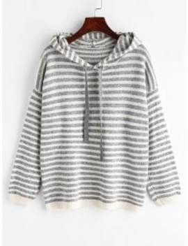 Striped Hooded Sweater   Multi by Zaful