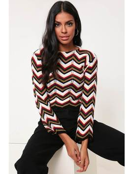 Red Zig Zag Knitted Jumper by I Saw It First