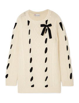 Embroidered Cable Knit Wool Sweater by Red Valentino