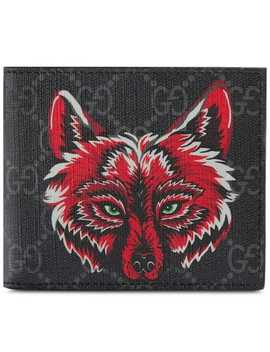 Gg Supreme Wallet With Wolf by Gucci
