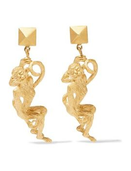 Gold Tone Clip Earrings by Valentino