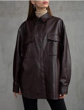 Brown Vegan Leather Shirt Preorder by Pixie Market