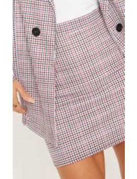 Navy Checked Mini Skirt  by Prettylittlething