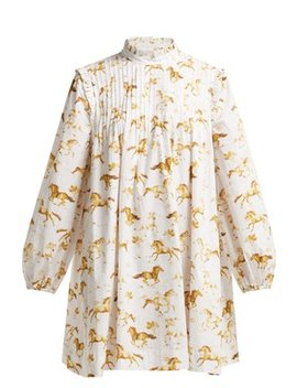 Weston Horse Print Cotton Dress by Ganni