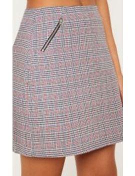 Black Zip Detail Check Mini Skirt by Prettylittlething