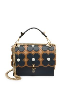 Ff Floral Kan I Leather Top Handle Shoulder Bag by Fendi
