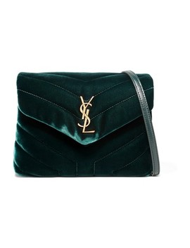 Monogram Loulou Quilted Shoulder Emerald Velvet Cross Body Bag by Saint Laurent