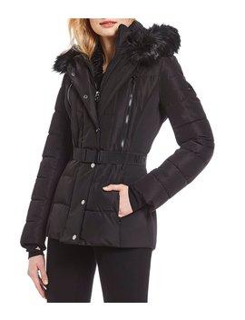 Faux Fur Hood Belted Parka Coat by Michael Michael Kors