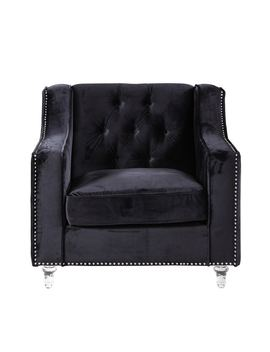 Chic Home Berry Velvet Round Acrylic Feet Club Chair, Black by Chic Home