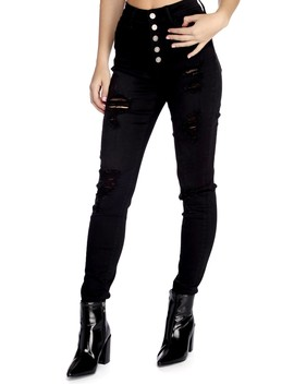 High Waist Buttoned Distressed Jeans by Windsor
