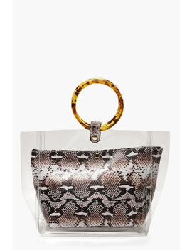 Clear & Faux Snake Bag With Resin Handles by Boohoo