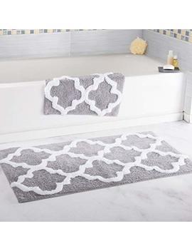 Bedford Home 100 Percents Cotton 2 Piece Trellis Bathroom Mat Set   Silver by Bedford Home
