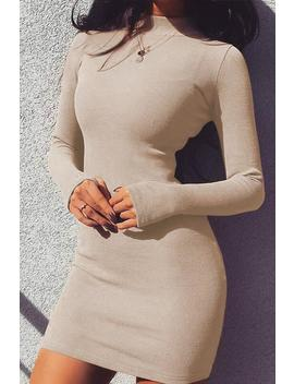 Mock Neck Candy Color Slim Dress by Lupsona