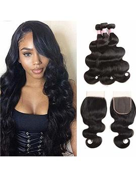 Brazilian Body Wave Hair Bundles With Closure 100 Percents Unprocessed Virgin Human Hair 3 Bundles With Free P Art Lace Closure Natural Color Mixed Length (14 16 18+12 Closure) by Doheroine