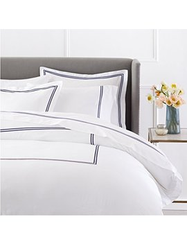 Pinzon 400 Thread Count Egyptian Cotton Sateen Hotel Stitch Duvet Cover   King, Navy by Pinzon By Amazon