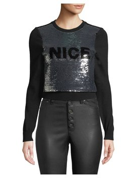 Chia Naughty/Nice Flip Sequin Pullover Sweater by Alice + Olivia