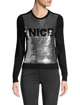 Chia Naughty & Nice Metallic Sequin Sweater by Alice + Olivia