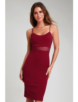 Limo Ride Burgundy Lace Bodycon Midi Dress by Lulus